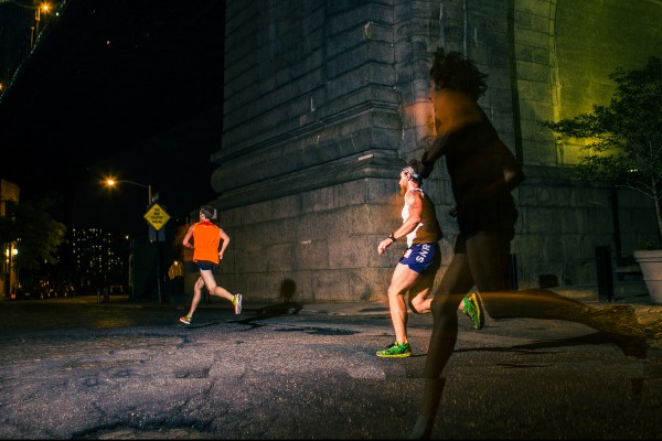 Under the bridge by the Dumbo Archway, shot by Parker Feierbach at the 2014 Midnight Half  on 5/31, featuring this years  winner, Mac Schneider (orange tank) with a time of 1:16:00.